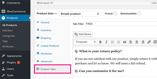 Adding a product faqs tab