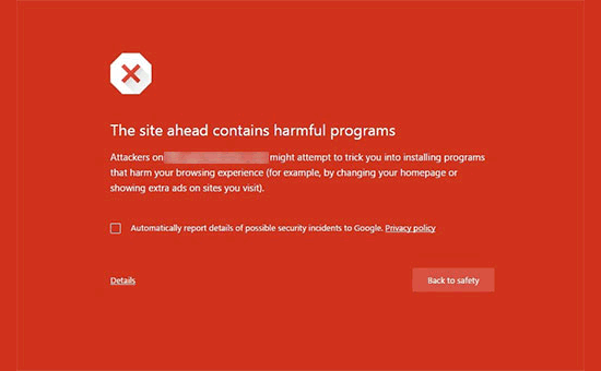 Harmful website warning in Google chrome