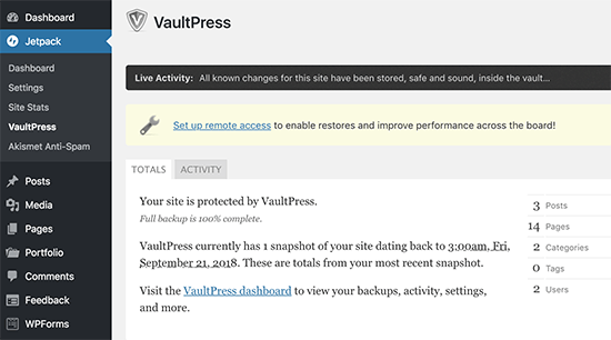 VaultPress dashboard