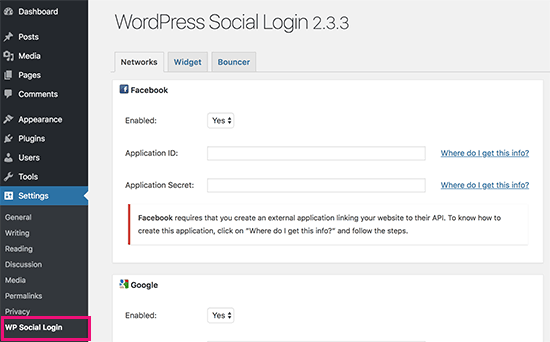 WP Social Login settings