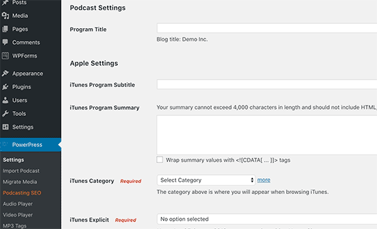 Podcast settings