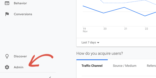 Switch to Google Analytics Admin view