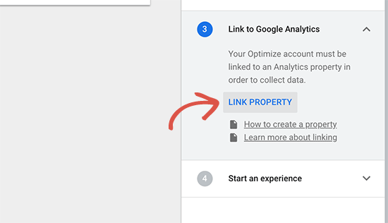 Koppel de Google Analytics-property