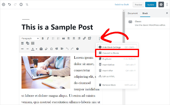Convert Old Post Content to Blocks in WordPress Block Editor