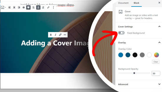 Fixed background option in cover block in Gutenberg