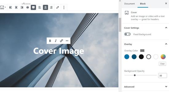 Coverblok in WordPress-blokeditor