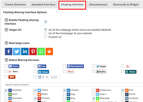 Floating social share plugin settings