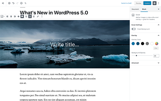 New WordPress editor called Gutenberg