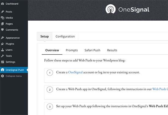 Cómo Configurar Notificaciones Push En WordPress. Página de configuración de OneSignal