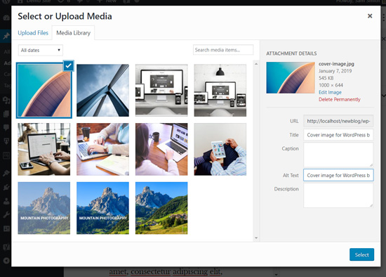 Upload cover image in WordPress block editor