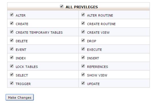 데이터베이스 사용자에게 모든 권한 부여