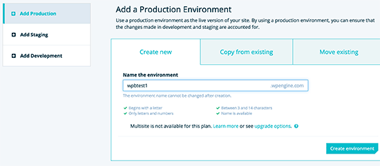 Add a production environment WordPress site
