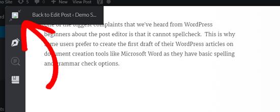 Terug naar bewerken in WordPress