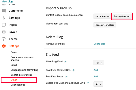Export blog posts from Blogger