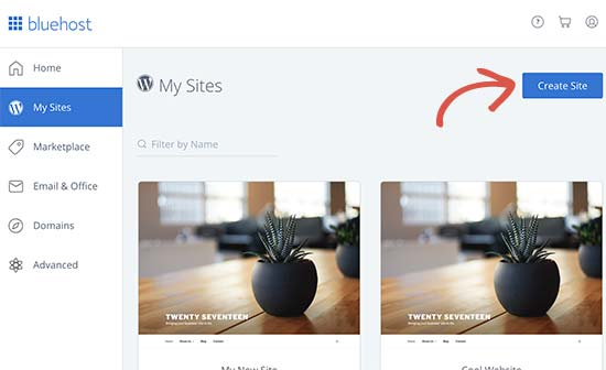 Installing new WordPress site in Bluehost