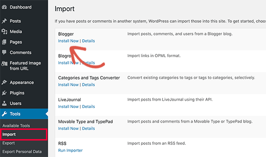 Install Blogger importer tool for WordPress