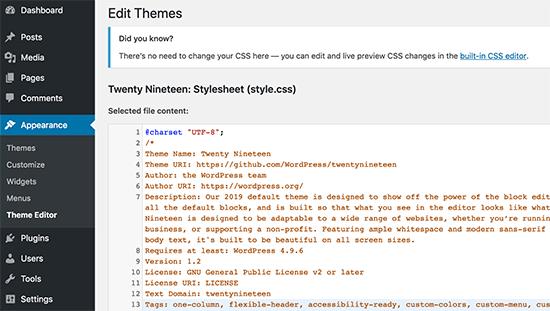 Vô hiệu hóa chỉnh sửa tệp trong WordPress
