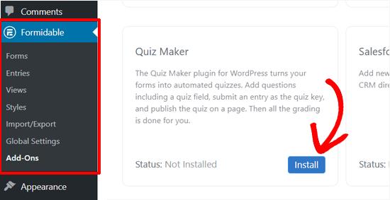 Installeer Formidable Forms Quiz Maker