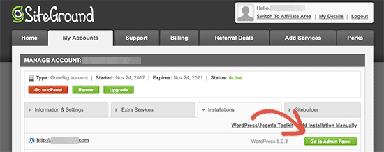 Visit WordPress admin panel