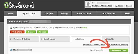 Visita el panel de administración de WordPress