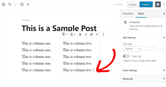 Add Text in Your WordPress Columns