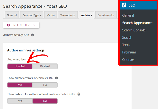 Yoast SEO Author Archive Settings