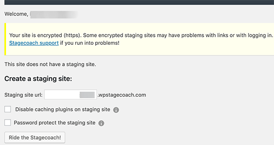 Create staging site using WP Stagecoach