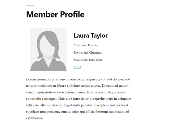 Staff Member Profile Single Page in WordPress