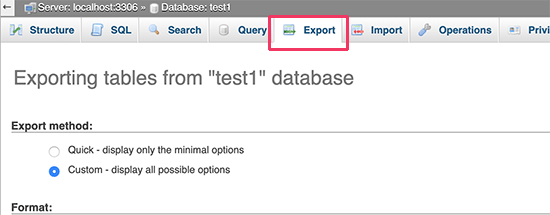 Export WordPress database