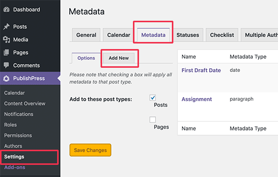 Managing editorial metadata