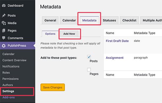 Editör meta verilerini yönetme