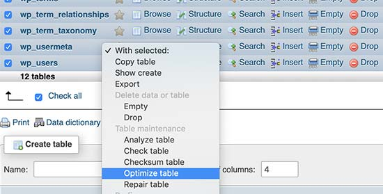 Optimize WordPress database tables