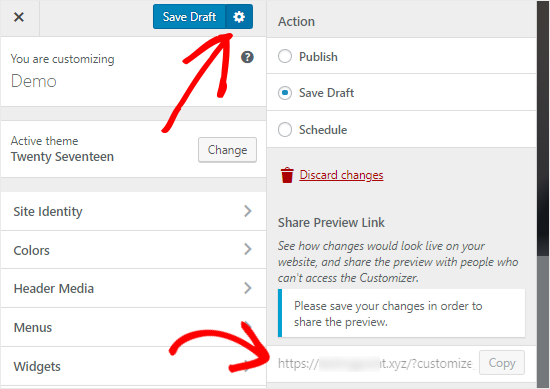 WordPress Customizer Save Draft option