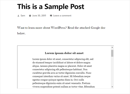 Google Doc eingebettet in WordPress Post-Vorschau