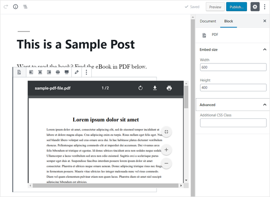 WordPress Post Editor'da Gömülü PDF