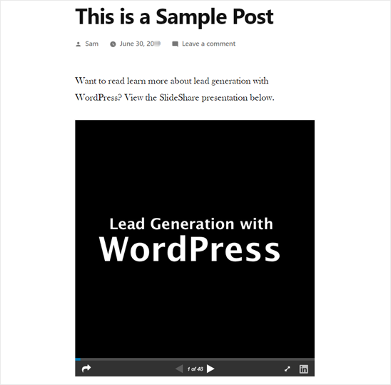 SlideShare Presentation Added in WordPress - Preview