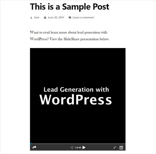 WordPress'te SlideShare Sunumu Eklendi - Önizleme