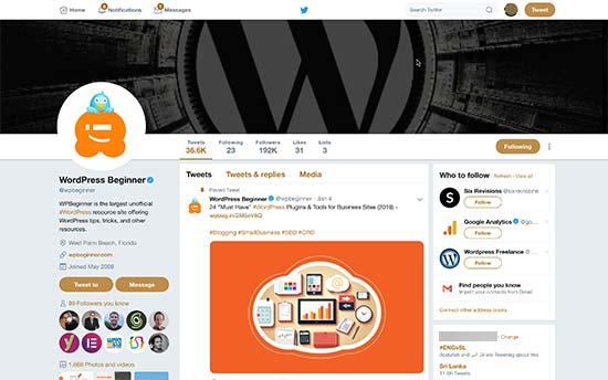 Twitter个人资料页面显示封面照片,个人资料图片和分享图片