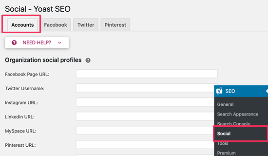 Add social accounts in Yoast SEO
