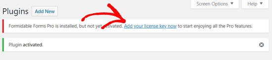 Add Your Formidable Forms Pro License Key