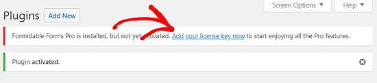 Ajoutez votre clé de licence Formidable Forms Pro