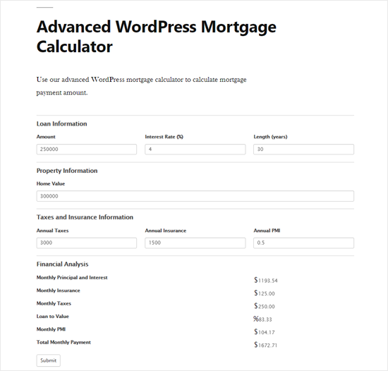 Advanced WordPress Mortgage Calculator Preview
