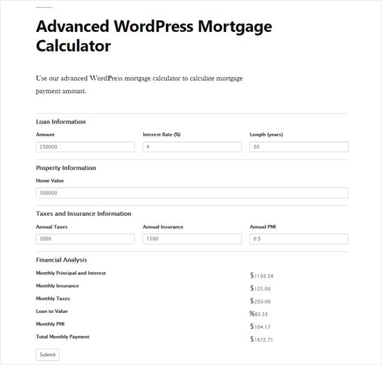 Advanced WordPress Calculatrice hypothécaire Aperçu