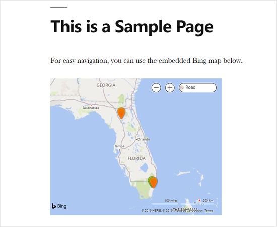 Bing Map Embedded in WordPress using a Plugin