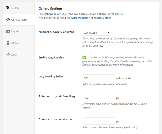 Configure Envira Gallery Settings