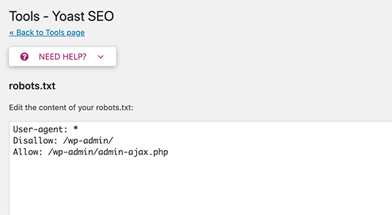 Edit robots.txt and .htaccess file in Yoast SEO