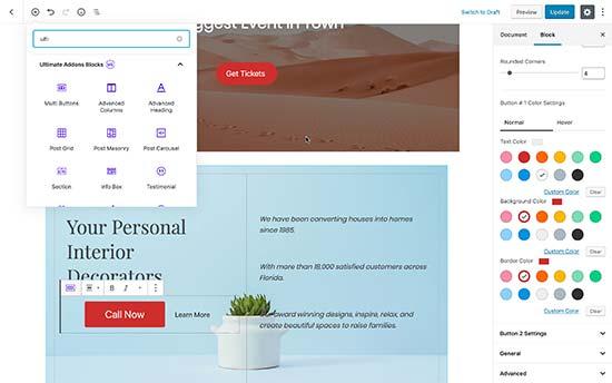 Uso de complementos de biblioteca de bloques avanzados para hacer el diseño de la página de inicio