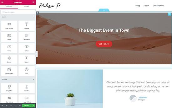 Crear un diseño de página de inicio usando Elementor