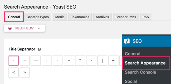 Search appearance settings in Yoast SEO