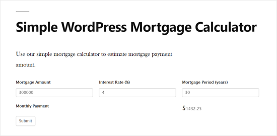 Calculateur d'hypothèque WordPress simple Aperçu